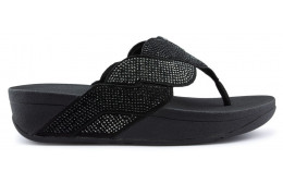 FITFLOP PAISLEY ROPE TOE THONGS Sandals BLACK